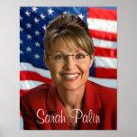 Imagen de Sarah Palin con la bandera que agita Póster