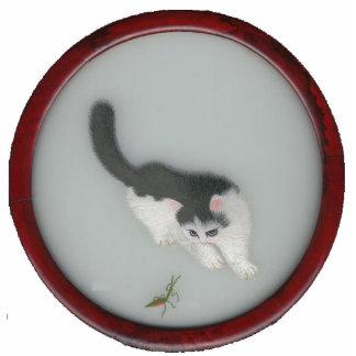 Imagen de seda china del gato esculturas fotograficas