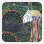 imagen de una pintura original del amigo de pegatina cuadrada