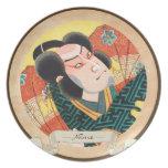 Imagen del actor del kabuki en el ukiyo plegable d platos