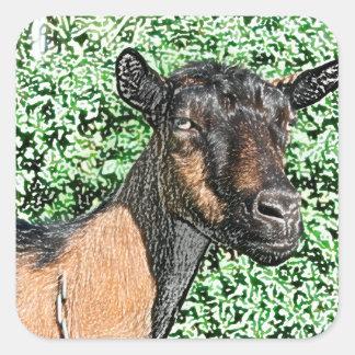 imagen del animal de la cabra de la gama del pegatina cuadrada