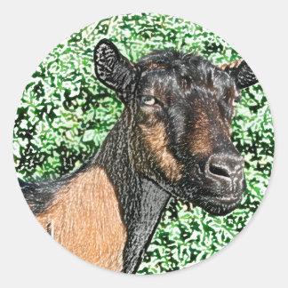 imagen del animal de la cabra de la gama del pegatina redonda