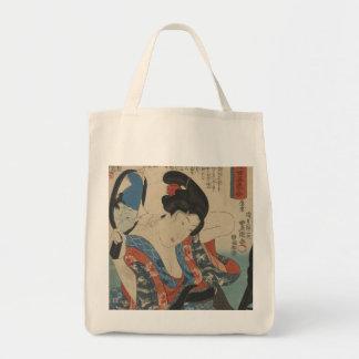 Imagen del arte del vintage de la señora japonesa bolsa lienzo