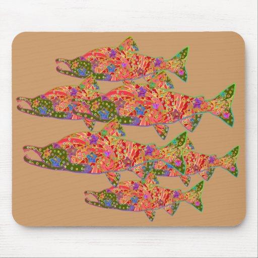 Imagen del arte moderno de los salmones de Sockeye Mouse Pads