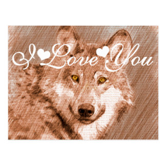 Imagen del bosquejo del lápiz del lobo te amo tarjetas postales