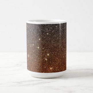 Imagen del brillo de moda negro y anaranjado taza