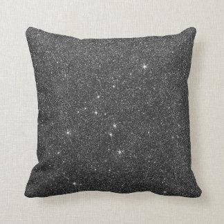 Imagen del brillo negro y gris almohadas