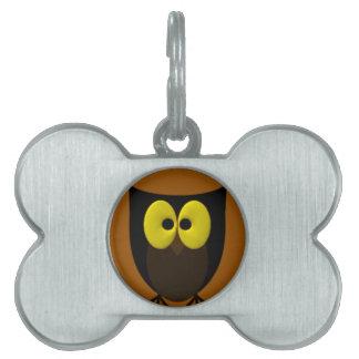 Imagen del búho placa de nombre de mascota