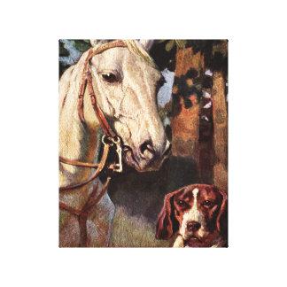 Imagen del caballo y del perro impresiones en lienzo estiradas