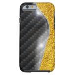 imagen del cambio del oro del carbono del caso del funda de iPhone 6 tough