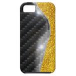 imagen del cambio del oro del carbono del caso del iPhone 5 cárcasa
