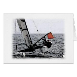 Imagen del catamarán de la navegación de la tarjeta de felicitación