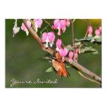 Imagen del colibrí y de las flores invitación 12,7 x 17,8 cm