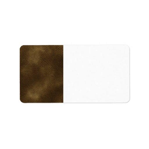Imagen del cuero de Brown Etiqueta De Dirección