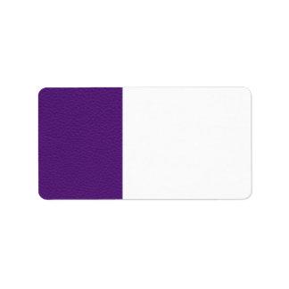 Imagen del cuero púrpura etiqueta de dirección