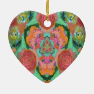 imagen del diseño del caleidoscopio adorno navideño de cerámica en forma de corazón