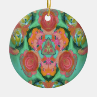 imagen del diseño del caleidoscopio adorno navideño redondo de cerámica