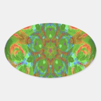 imagen del diseño del caleidoscopio pegatina ovalada