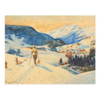 Imagen del esquí del vintage, campo a través en postales