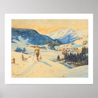 Imagen del esquí del vintage, esquí del campo a tr póster