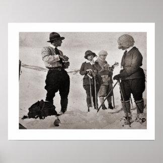 Imagen del esquí del vintage, gran desgaste del es impresiones