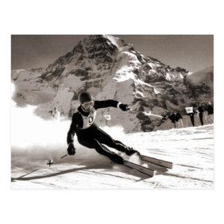 Imagen del esquí del vintage, raza de Lauberhorn Tarjetas Postales