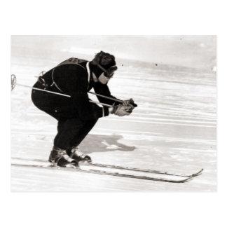 Imagen del esquí del vintage, raza para el final postales