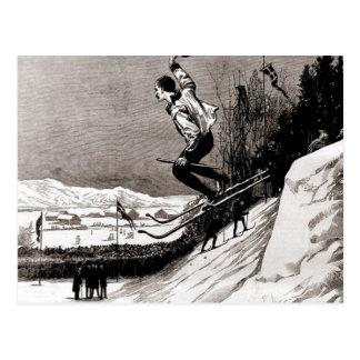 Imagen del esquí del vintage, saltando hacia el tarjetas postales