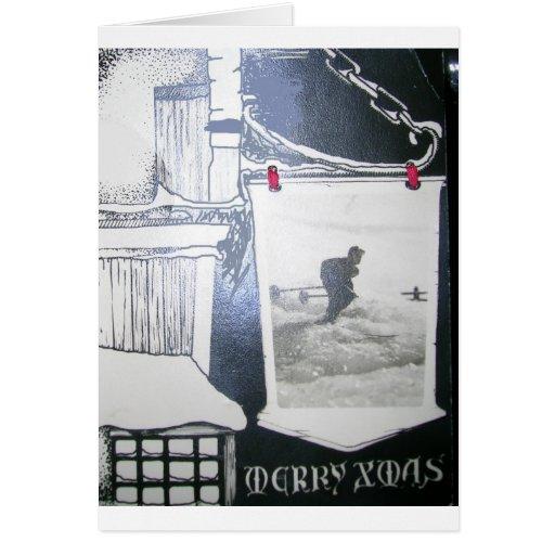 Imagen del esquí del vintage tarjeta de felicitación