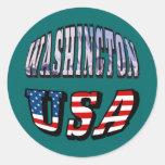 Imagen del estado de Washington y texto de los E.E Etiquetas Redondas