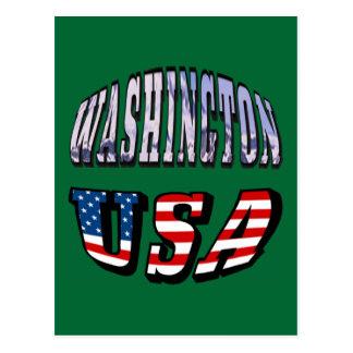 Imagen del estado de Washington y texto de los Tarjetas Postales