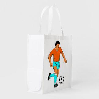 Imagen del futbolista del fútbol para el bolso reu bolsas reutilizables