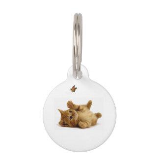 Imagen del gato para la pequeña etiqueta redonda placas de mascota