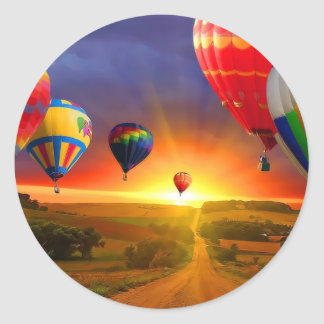imagen del globo del aire caliente pegatina redonda