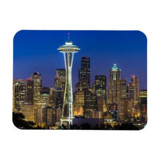 Imagen del horizonte de Seattle en horas de mañana Imanes Rectangulares