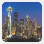 Imagen del horizonte de Seattle en horas de mañana Pegatina Cuadradas Personalizadas