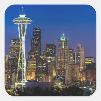 Imagen del horizonte de Seattle en horas de mañana Pegatina Cuadrada