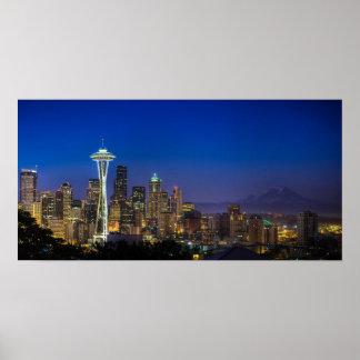 Imagen del horizonte de Seattle en horas de mañana Póster