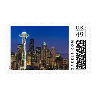 Imagen del horizonte de Seattle en horas de mañana Sellos Postales