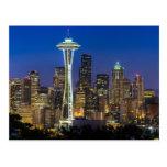 Imagen del horizonte de Seattle en horas de mañana Tarjetas Postales