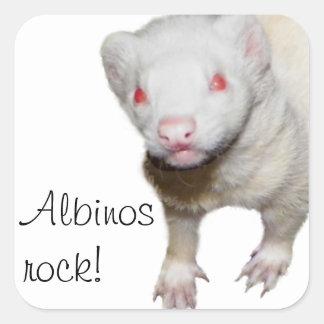 Imagen del hurón del albino calcomanía cuadradas personalizadas