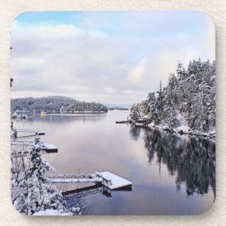 Imagen del invierno de la nieve posavaso