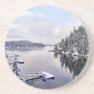 Imagen del invierno de la nieve posavasos personalizados