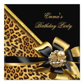 """Imagen del leopardo del negro del oro de la fiesta invitación 5.25"""" x 5.25"""""""