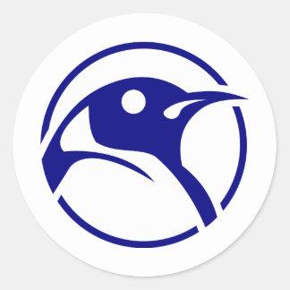 Imagen del linux del pingüino pegatina redonda