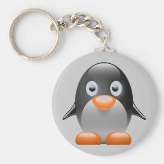 imagen del linux del tux del pingüino llavero redondo tipo pin