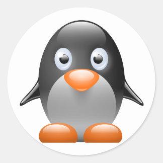 imagen del linux del tux del pingüino pegatina redonda