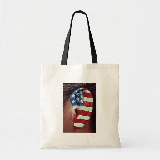 Imagen del oído, bandera americana pintada bolsa tela barata