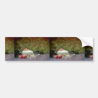 Imagen del pastel de bodas y de flores pegatina de parachoque