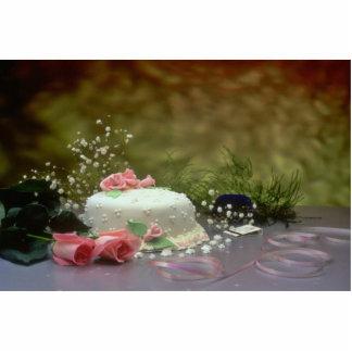 Imagen del pastel de bodas y de flores esculturas fotograficas
